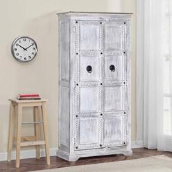 Winter White Tudor Reclaimed Wood Rustic Armoire