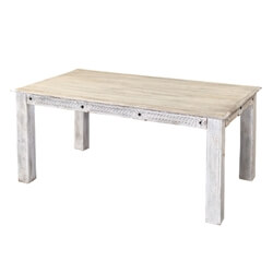 Rehoboth Farmhouse Style Reclaimed Wood Whitewashed Dining Table