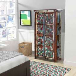 Salado Multicolor Mosaic Pattern Solid Reclaimed Wood Tall Cabinet