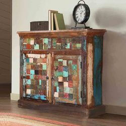 Campbell Mosaic Rustic Reclaimed Wood 2 Drawer Storage Cabinet