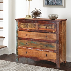 Jamestown Rustic Reclaimed Wood 5 Drawer Cottage Dresser