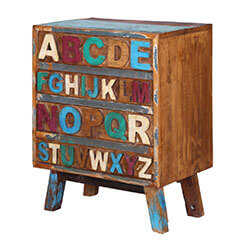Anaheim Alphabet Handcrafted Reclaimed Wood 4 Drawer Chest