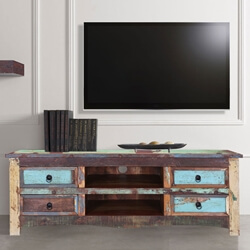 Appalachia Reclaimed Wood Open Shelf 4 Drawer TV Media Console