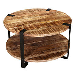 """Rustic Industrial 35"""" Round Coffee Table"""