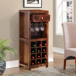 Alexandria Rustic Solid Wood Single Drawer Wine Bar Cabinet