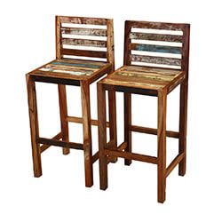 Fortuna Reclaimed Wood Low Back Tall Bar Stool (Set of 2)