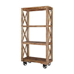 Astoria 3 Open Shelf Industrial Solid Wood Rolling Bookcase