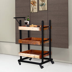 Colorado Springs Solid Wood 3-Tier Wheeled Industrial Bar Cart