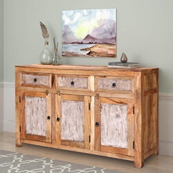 Gatlinburg Handcrafted Rustic Solid Wood 3 Door 3 Drawer Sideboard