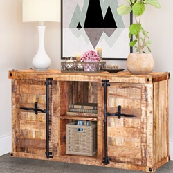 Santa Maria Handcrafted Solid Wood Front Open Rustic Sideboard Cabinet