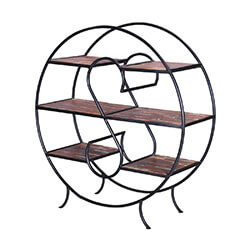 Napa Valley Reclaimed Wood & Iron Oval 3-Tier Display Shelf