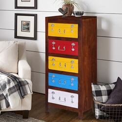 Erie Rustic Solid Wood Multicolor 5 Drawer Tall Dresser