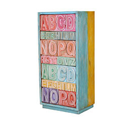 Pastel Rainbow ABC Mango Wood 7 Drawer Tower Dresser