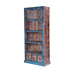 "Aurora 71"" Distressed Solid Wood Three Shelf Rustic Bookcase"