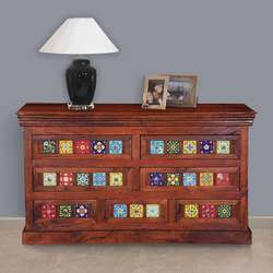 Mallorca Floral Tiled Solid Wood 7 Drawer Standard Horizontal Dresser