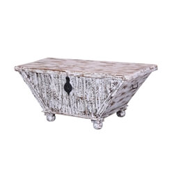 """Trapezoid 48"""" Mango Wood Standing Rustic Coffee Table Chest"""