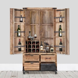 "Savannah Handcrafted Solid Wood 2 Door 75"" Tall Industrial Wine Bar Cabinet"