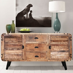 Castine Retro Rustic Mango Wood 3 Drawer Industrial Sideboard