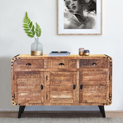 Alger Retro Style Rustic Mango Wood 3 Drawer Industrial Sideboard