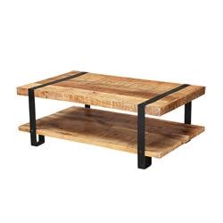 "Industrial 43"" Mango Wood 2-Tier Rustic Coffee Table"