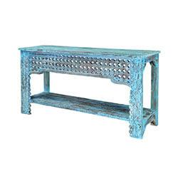 Blue Diamonds Hand Carved Mango Wood Hall Console Table