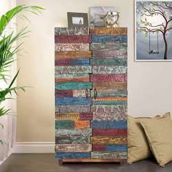 Rainbow Conch Carving Unique Reclaimed Wood Tile Tall Accent Cabinet