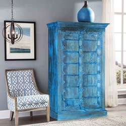 Gothic Blue Rustic Solid Reclaimed Wood Armoire Cabinet With Shelves
