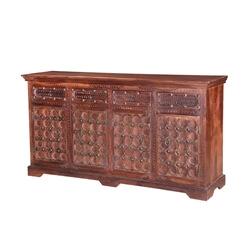 Elizabethan Classic Mango Wood 4 Drawer Rustic Large Sideboard Cabinet