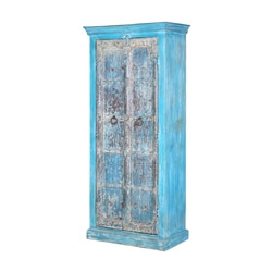 Otsego Distressed Blue Solid Reclaimed Wood Tall Armoire Cabinet