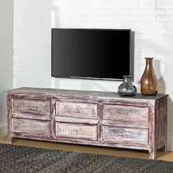Tempe Handcrafted Reclaimed Wood 6 Drawer TV Stand Media Console