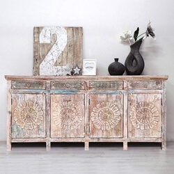 Arvada Primitive Rustic Reclaimed Wood 4 Drawer Large Sideboard