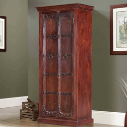 Erath Classic Handcrafted Rustic Reclaimed Wood Armoire With Shelves
