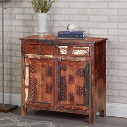 Seville Reclaimed Wood Hand Carved Door 2 Drawer Small Buffet Cabinet