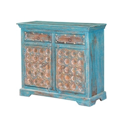 Sky Blue Handcarved Mango Wood 2 Drawer Rustic Small Sideboard Cabinet