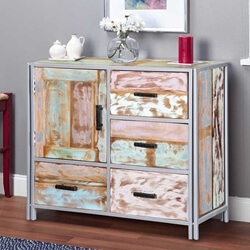Finch Handcrafted Reclaimed Wood 4 Drawer Industrial Storage Cabinet