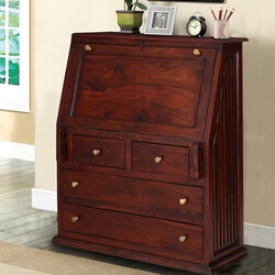 Reardan Handcrafted Solid Wood Drop Front Home Office Secretary Desk