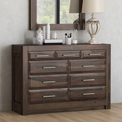 Sierra Nevada Rustic Solid Wood Bedroom Dresser Chest With 9 Drawers