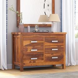 Flagstaff Handcrafted Solid Wood 6 Drawer Bedroom Double Dresser