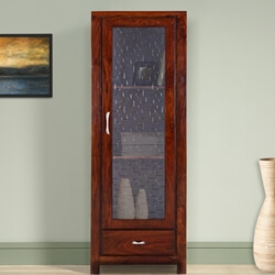 "Lincoln 69"" Solid Wood Rustic Curio Display Cabinet"
