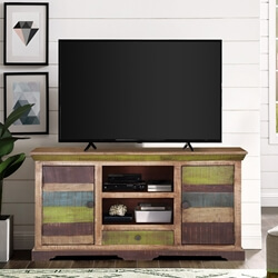 Modern Rustic Mango Wood Sideboard Freestanding TV Media Cabinet