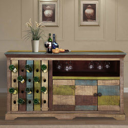 Hamler Modern Rustic Mango Wood 2 Sided Wine Bar Cabinet