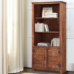 Morgantown 3 Open Shelf Rustic Solid Wood Bookcase Hutch