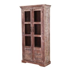 Modern Pioneer Mango Wood Double Door Display Cabinet