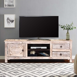 """55"""" Winter White Reclaimed Wood TV Console Media Cabinet"""