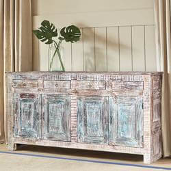 Jurupa Distressed Reclaimed Wood 4 Drawer Large Sideboard Cabinet
