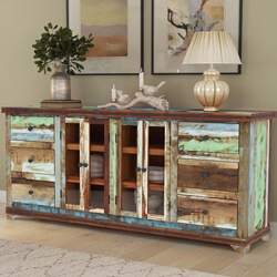 Tarlton Handmade Rustic Reclaimed Wood 6 Drawer Large Buffet Cabinet