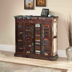 Gilboa Rustic Reclaimed Wood Shutter Door Buffet Cabinet