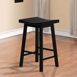 Wisconsin Black Sturdy Solid Wood Saddle Bar Stool