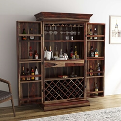"Ohio Rustic Solid Wood 76"" Tall Home Wine Bar Cabinet"