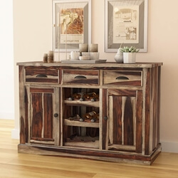 Hosford Rustic Solid Wood 3 Drawer Wine Rack Bar Sideboard Cabinet